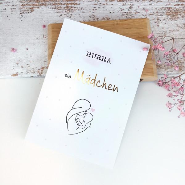 """Postkarte zur Geburt Gold """"Hurra, ein Mädchen"""""""