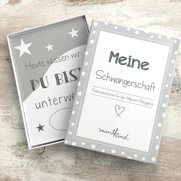 """Meilensteinkarten """"Schwangerschaft"""" - grau"""