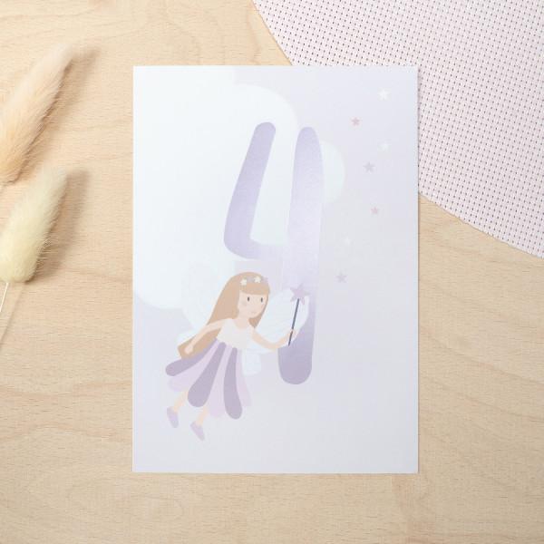 "Geburtstag Glückwunschkarte ""4"" - Fee"