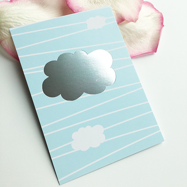 """Mini-Kärtchen """"Wolke"""" - Silber & Pastell"""