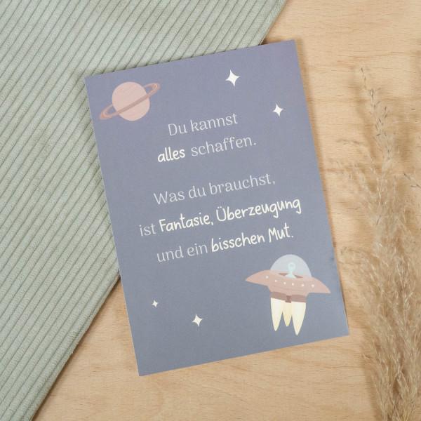 Postkarte Spruch Weltraum