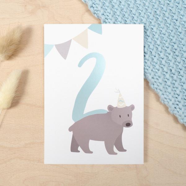 """Geburtstag Glückwunschkarte """"2"""" - Bär"""