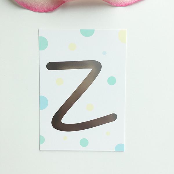 "Mini-Kärtchen ""Z"" - Silber & Pastell"