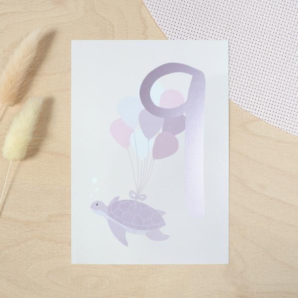 """Geburtstag Glückwunschkarte """"9"""" - Schildkröte"""
