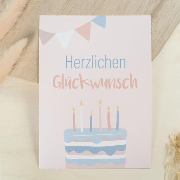 """Glückwunschkarte Kindergeburtstag """"Herzlichen Glückwunsch"""""""