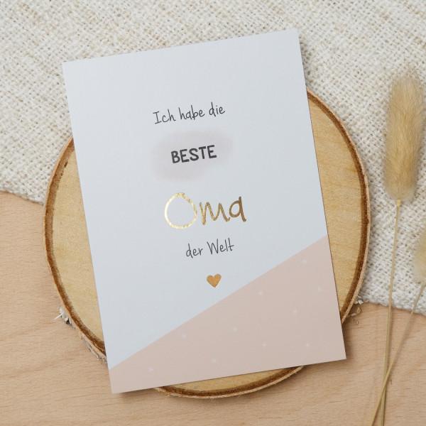 "Postkarte Gold ""Beste Oma"""