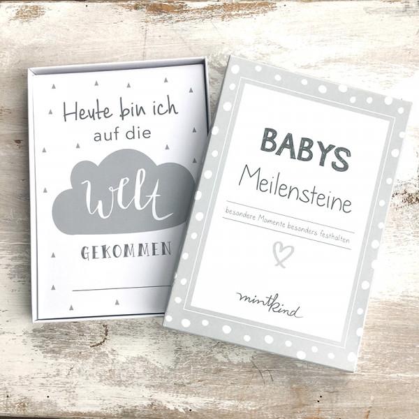 Baby Meilensteinkarten - grau