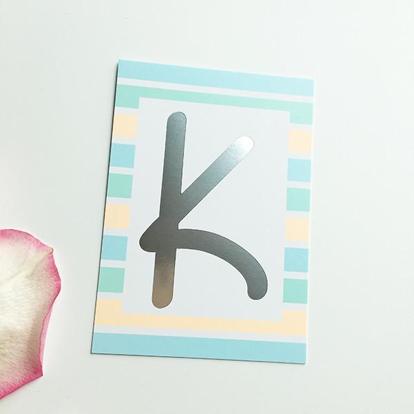 """Mini-Kärtchen """"K"""" - Silber & Pastell"""