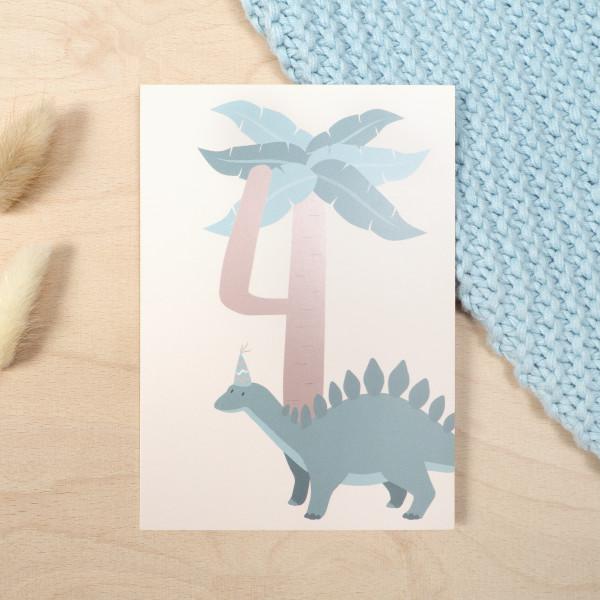 "Geburtstag Glückwunschkarte ""4""- Dino"