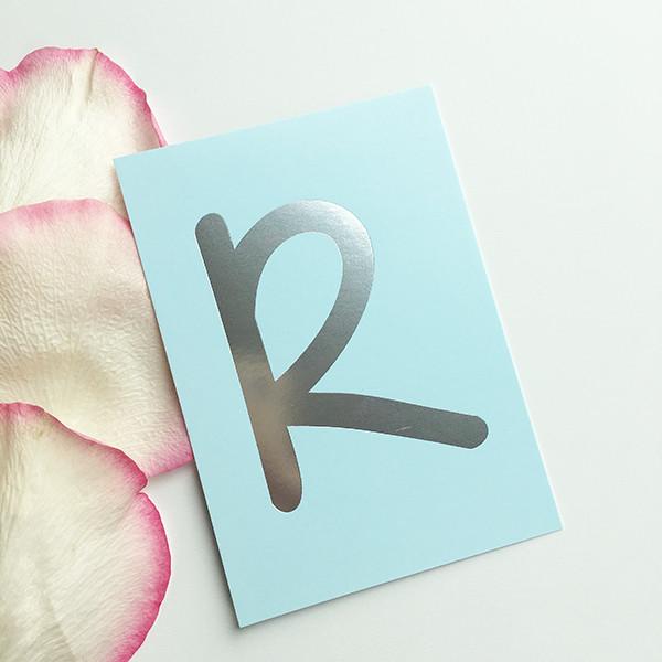 "Mini-Kärtchen ""R"" - Silber & Pastell"